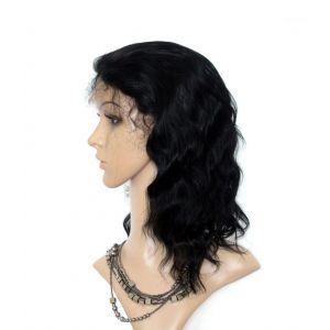 10 Inch Human hair Body Wave Indian Remy #1 Jet Black Lace Front Wigs [LFBW428]