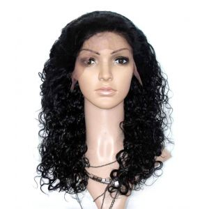 18 CURLY 1 JET BLACK CURLY HAIR GLUELESS FULL LACE WIGS INDIAN REMY HAIR [GELC310]