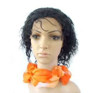 8 Inch #1 Jet Black Curly Indian Remy Human Hair Lace Front [LFC102]