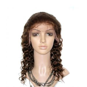 14 Inch #4 Light Brown Deep Wave Indian Remy Human Hair Lace Front [LFDW524]