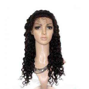 "20"" deep wave #2 dark brown indian remy hair lace front wigs [lfw306]"