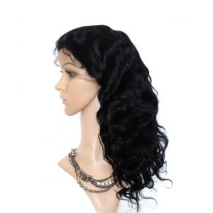"""16"""" #1(JET BLACK) BODY WAVE INDIAN REMY HAIR GLUELESS LACE FRONT WIGS [GLFW108]"""