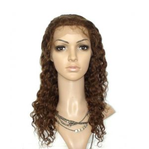 14INCH #4(CHOCOLATE BROWN) WATER WAVE INDIAN REMY HAIR GLUELESS LACE FRONT WIGS [GLFW129]