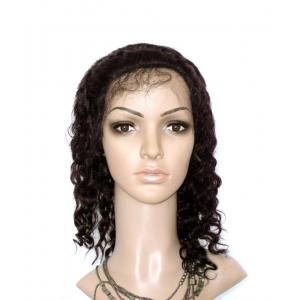10 Inch #1 Jet Black Water Wave Indian Remy Human Hair Lace Front [LFWW506]