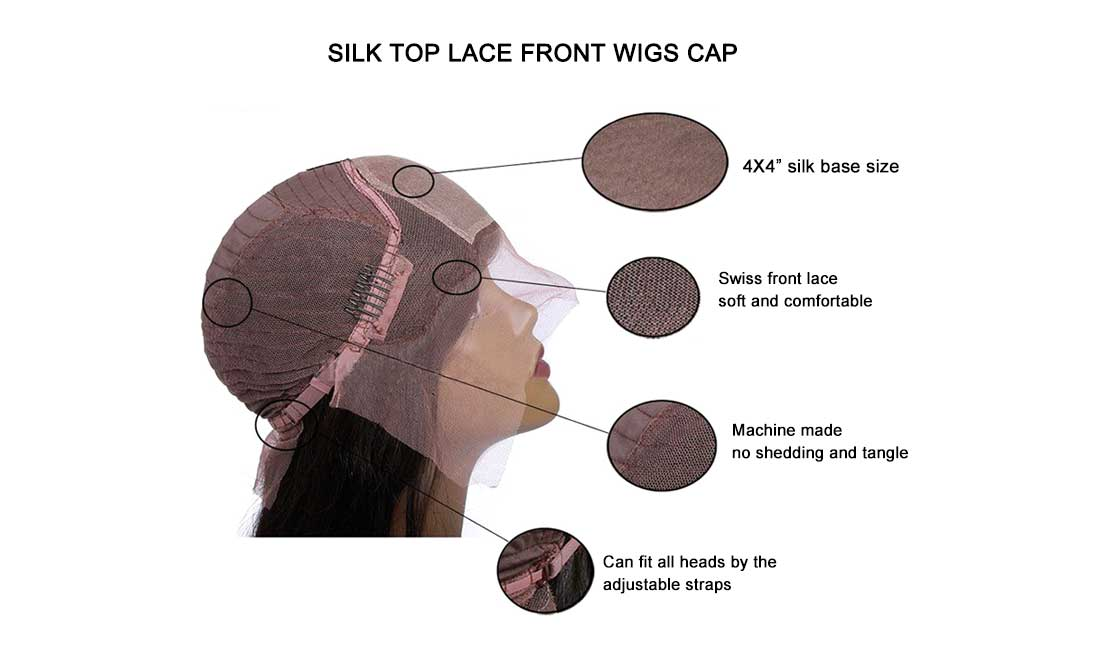 silk top lace front wigs cap